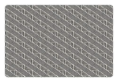 - Ambesonne Tribal Pet Mat for Food and Water, Aztec Boho Geometric Ethnic Stripes Folk Grunge Mix Traditional Modern Art Deco, Rectangle Non-Slip Rubber Mat for Dogs and Cats, Off White Black