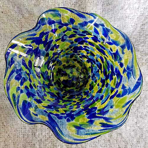 - 7 Inch Glass Wavy Bowl - Blue and Green