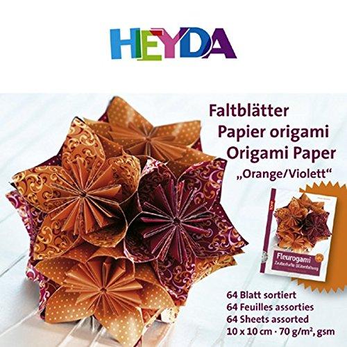 Papierset Faltbl/ätter Fleurogami orange//violett