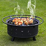 Kinbor 30-Inch Portable Wood Burning Iron BBQ Backyard Patio Garden Fire Pit with Cooking Grill, Spark Screen and Free Waterproof PVC Cover