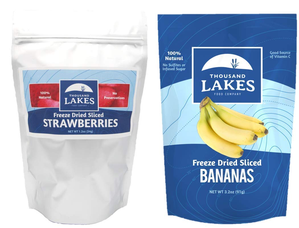 Thousand Lakes Freeze Dried Fruits and Vegetables - Strawberry & Banana 2-Pack Bundle | 100% Fruit | No Sugar Added