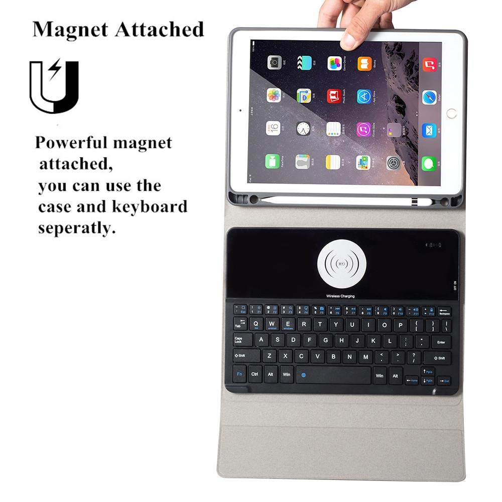 OXOQO Bluetooth Folio Keyboard Case for iPad Air/iPad Pro 9.7 / New iPad 9.7'' - Smart Wireless Tablet Keyboard Cover with Detachable Shell Wireless Charging 60 Days Stand by by OXOQO (Image #4)