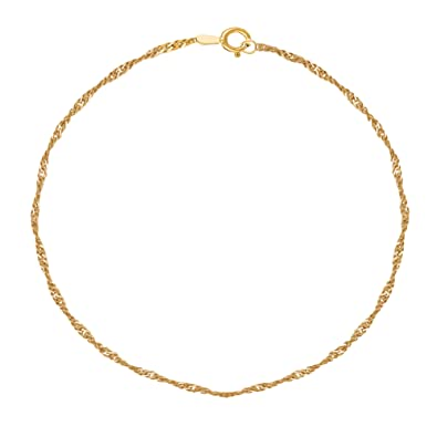 bracelet yellow and com gold dp inch solid chain amazon jewelry ankle rolo anklet link