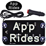 AutoEC APP Rides LED Light Signs for Car, LED Sign Accessories Decal Sticker for Drivers, Taxi Sign Light with DC 12V Cigarette Lighter Inverter Hook on Windshield, White