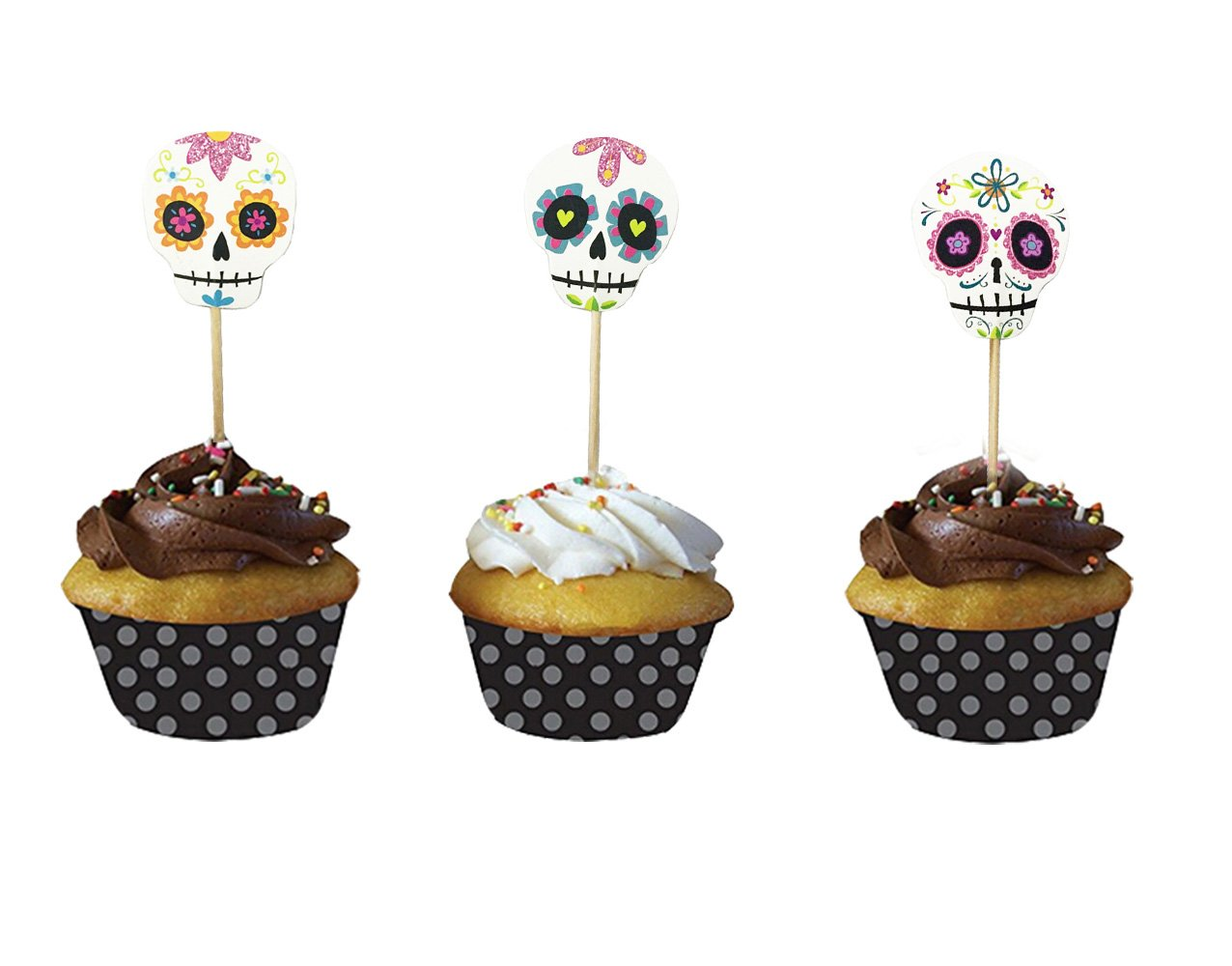 Halloween Cupcake Muffin Toppers Skeleton Design, 36 Pcs, Mixed Packaging by PARTYMASTER PM-PICK-005