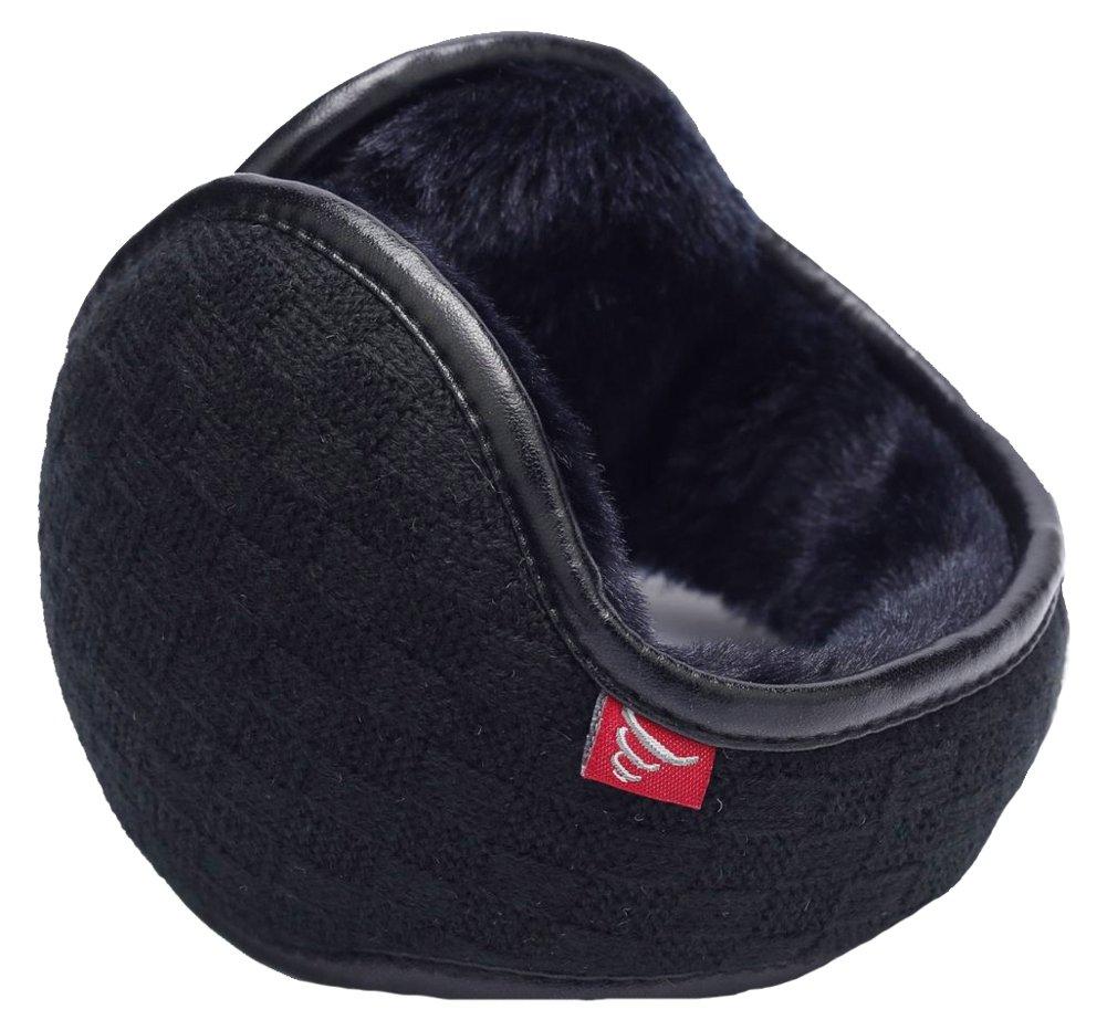 Ilishop Unisex Woolen Yarn Plaid Foldable Adjustable Wrap CY-Earmuffs1003-Black-Free