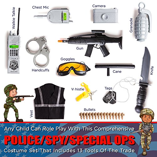 KidzLand 13 Pcs Police Costume for Kids | Real Heros with Toy Role Play Kit -