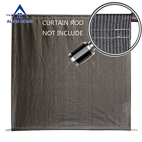Alion Home Sun Shade Rod Pocket Panel for Patio, Awning, Window Cover, Instant Canopy Side Wall, Pergola or Gazebo (10'x 8', Mocha (Knitted Shade Panel)