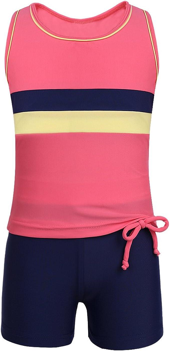 iixpin Tankini Costume da Bagno Ragazza Due Pezzi con Pantaloncino Racerback Costume Intero Bambina Mare Completo da Bagno Protezione Solare Bambini