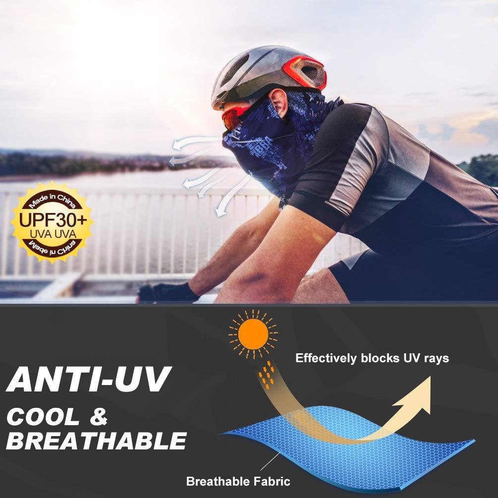 VBIGER Pañuelos Cabeza, Multifunción Bufanda Deportiva Elástica, Cuello Diadema Máscara Aire Libre Protección UV para Senderismo Ciclismo Caballo Moto Correr Yoga (Azul)