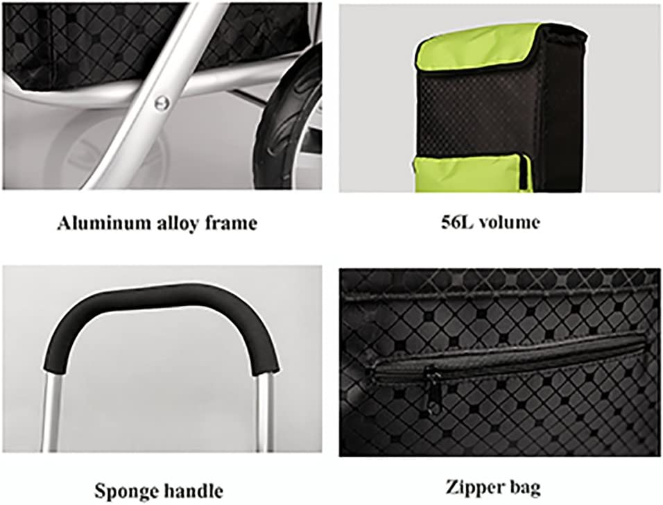 Yxsd 56L Lightweight Shopping Trolley Aluminum Folding Trolley Car Large Capacity
