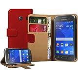 Membrane - Rosso Portafoglio Custodia per Samsung Galaxy Ace Style (SM-G310) - Wallet Flip Case Cover