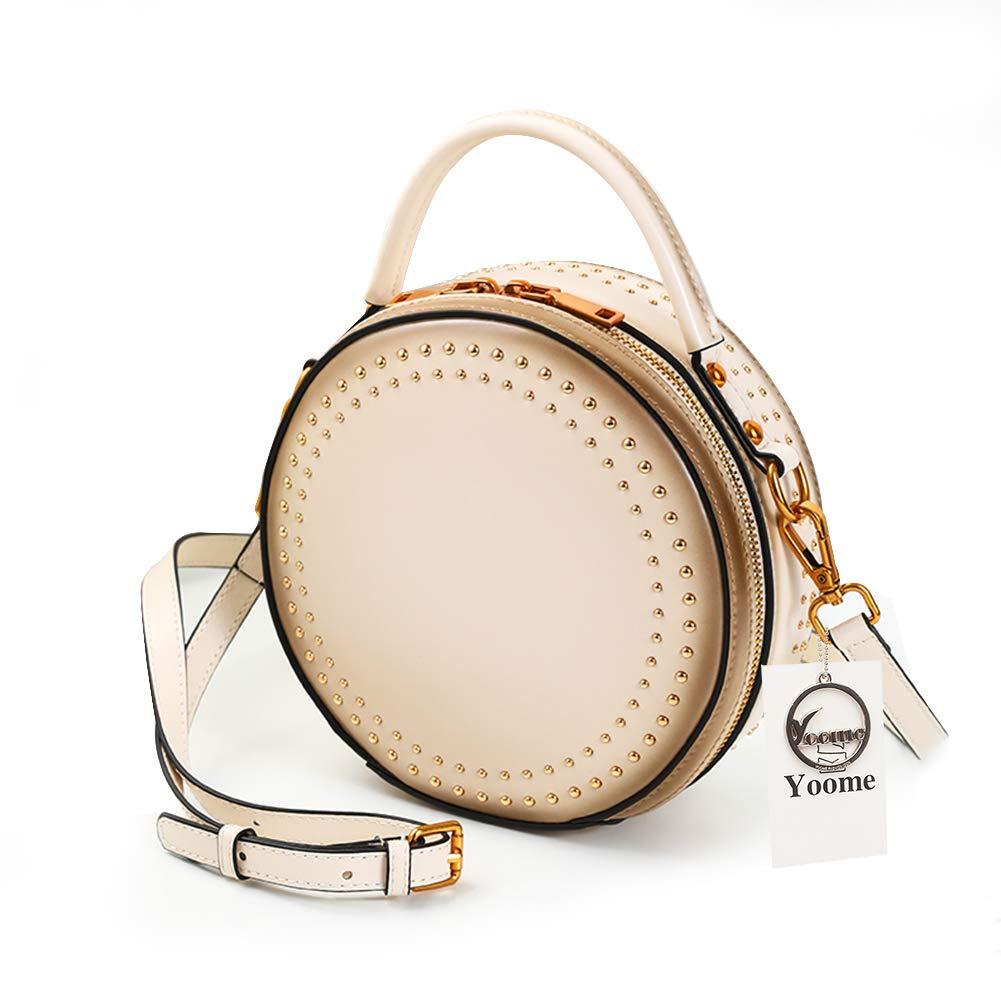 946b92083ca9 Yoome Elegant Rivet Bag Punk Purse Circular Ring Handle Handbags Cowhide  Leather Crossbody Bags For Women YooR031-Black.Rivets