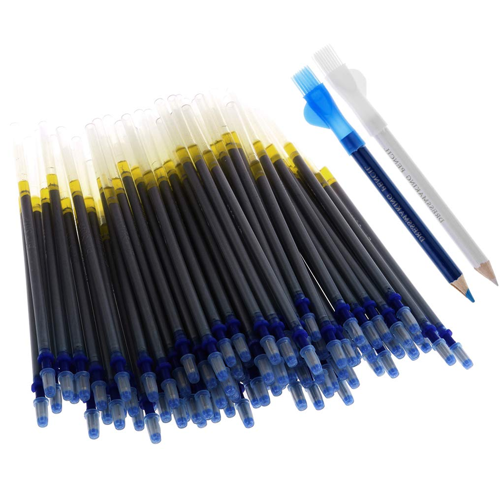 Baoblaze 102Pcs Assorted Dual Head Tailors Chalk Pencils with Brush Sewing Dressmakers Fabric