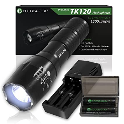 EcoGear FX Tactical Flashlight, TK120 Complete LED Flashlight Kit with Zoom Function and 5 Light Modes - Includes Rechargeable Batteries, Battery Charger and a Durable Storage Box