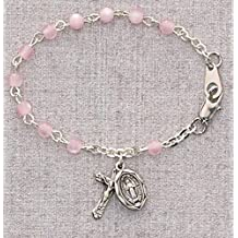 4mm Bead Pink Baby Bracelet, Infant Jewelry, Girls Rosary Bracelet, Crucifix Cross & St. Mary Miraculous Medal Charms.