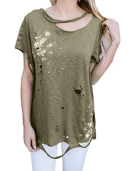 Zeer Amazon.com: Pxmoda Womens's Cut Out Ripped T Shirt Flowy Hip Hop T #LI38