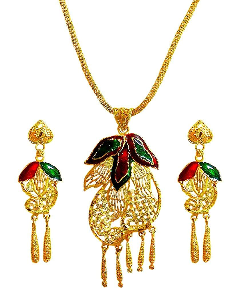DollsofIndia Gold Plated Pendant with Chain and Earrings 15 inches Chain Length GU32