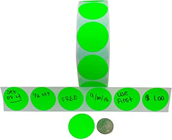 """LIME GREEN 1/"""" Round Stickers Color Code Inventory Label Dot Package Seals"""