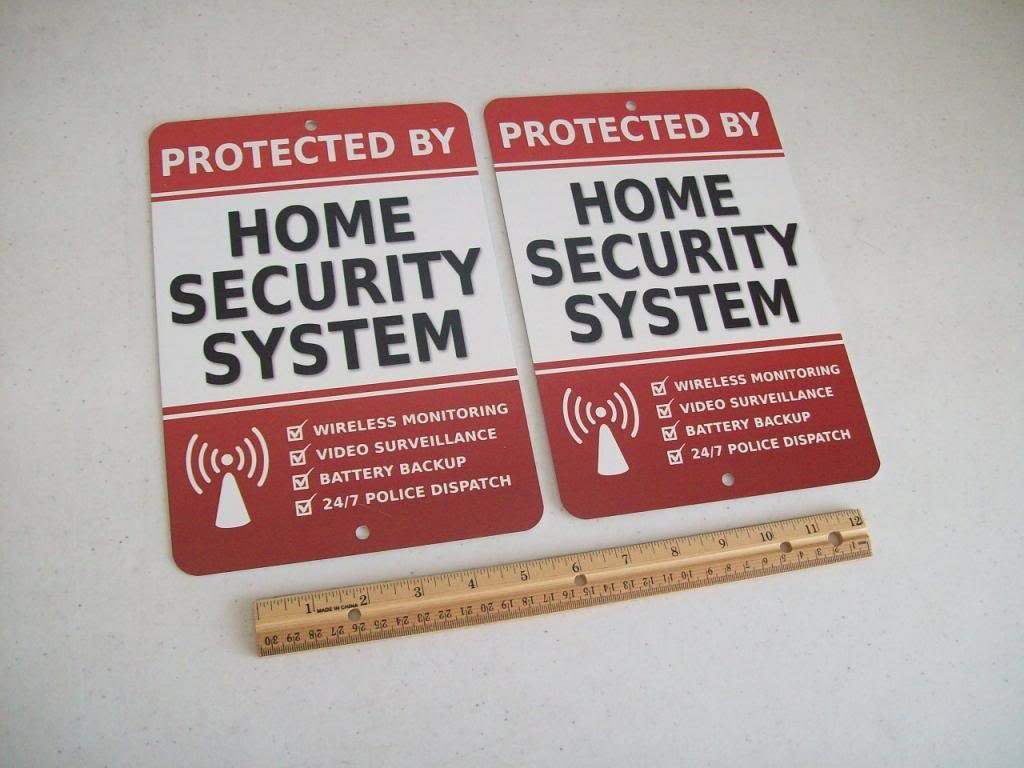 2 Home Security Alarm System 7x10 Metal Yard Signs - Stock # 703