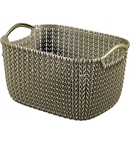 Curver Knit Rectangular Storage Basket, Misty Blue, 8 Litre 03702-X60-00