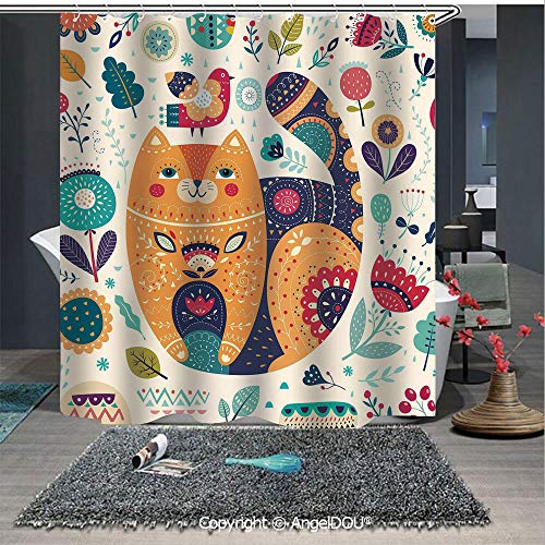- AngelDOU Paisley Decor Printed Fabric Shower Curtain Little Smiling Chubby Cheek Cat with Various Oriental Leaf Flower Decor Art Home Decorations for Bathroom