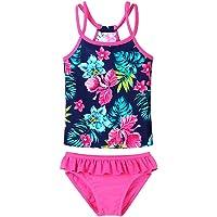 BAOHULU Little Girls Flower Lovely Tankini Rash Guard Bikini Swimsuit Set 3-12 Years