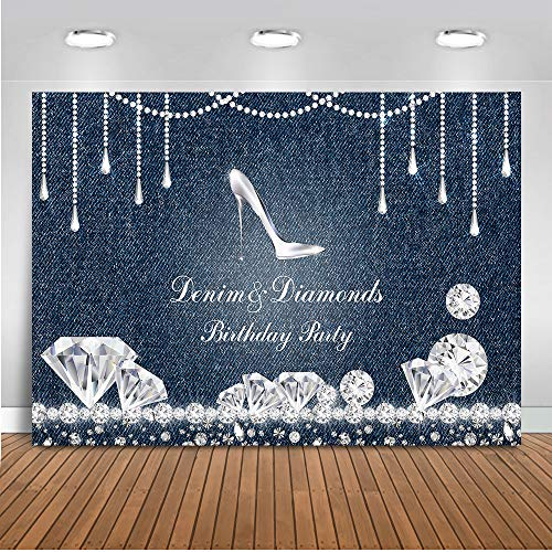 Mehofoto Denim and Diamonds Birthday Party Backdrop High Heel Birthday Background 7x5ft Vinyl Birthday Party Banner Supplies Event Decoration]()