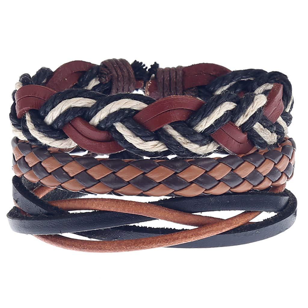 Toponly Wrap Bracelets Men Women, Hemp Cords Wood Beads Ethnic Tribal Bracelets Leather Wristbands