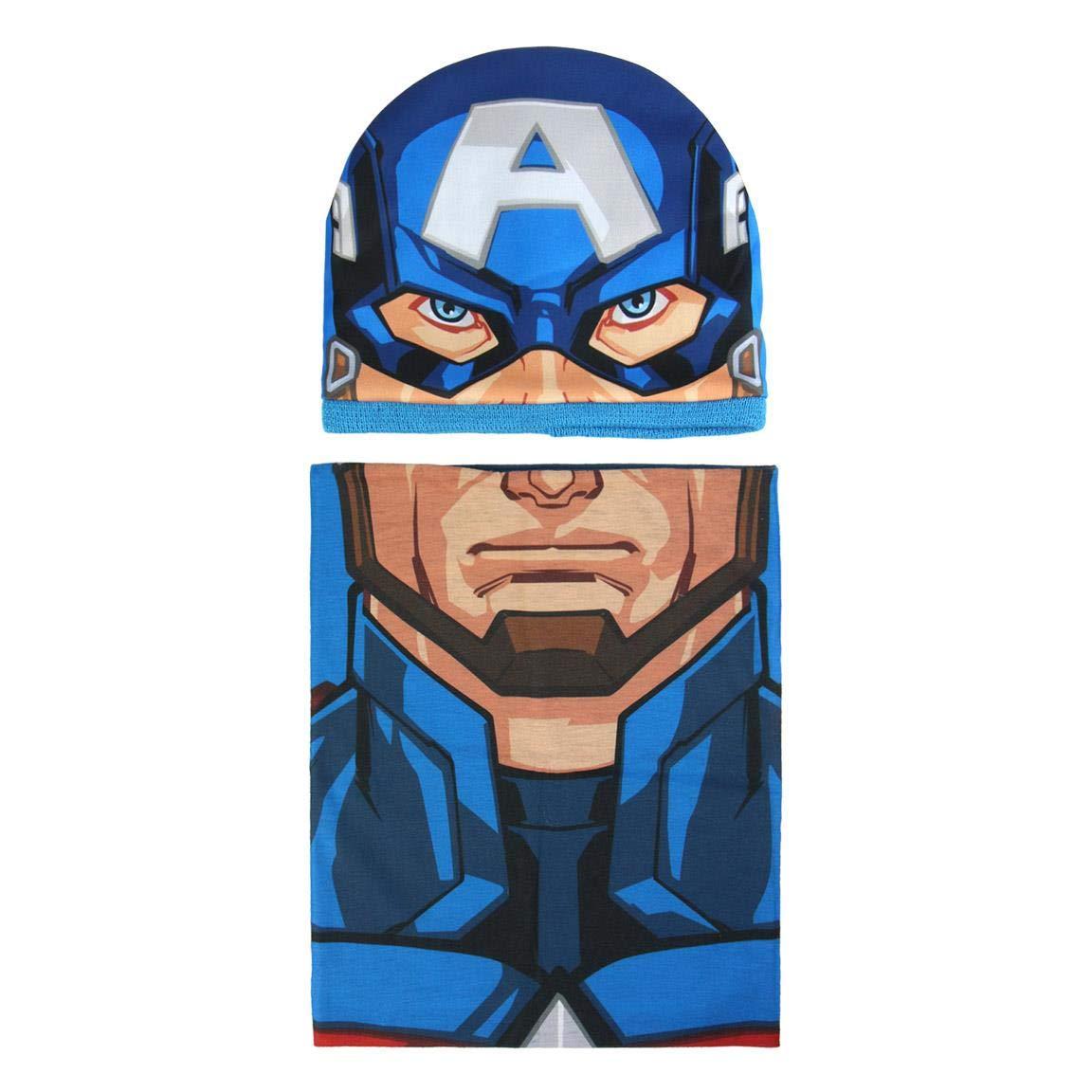 Cerdá Boy's Conjunto 2 Piezas Avengers Capitan America Scarf, Hat and Glove Set, Blue (Azul 001), One Size (Manufacturer Size: Única) 2200003294
