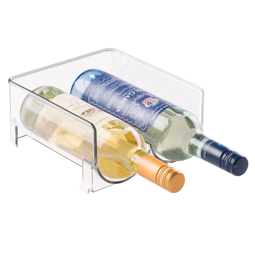 mDesign Plastic Free-Standing Wine Rack Storage Organizer for Kitchen Countertops, Table Top, Pantry, Fridge - Holds Wine, Beer, Pop/Soda, Water Bottles - Stackable, 2 Bottles - Clear
