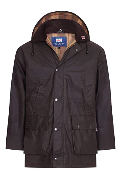 Mens Wax Jacket Waterproof Cotton Padded Hunting Shooting Fishing Made in UK Coats & Jackets Clothing, Shoes & Accessories