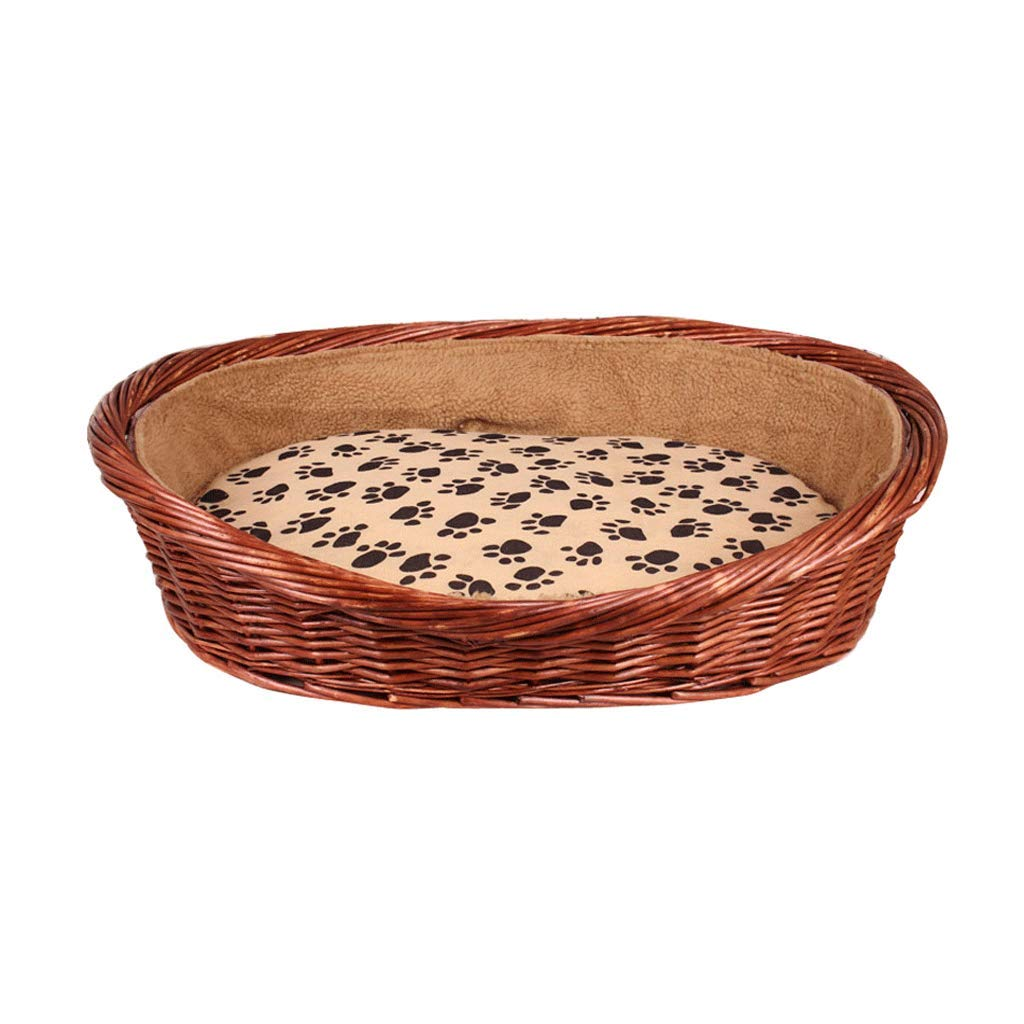 67X50CM Rattan Pet dog Bed Padded Bed Bolster Bed Pet Nest Suitable for Both Summer and Winter Removable and Washable (Size   67X50CM)