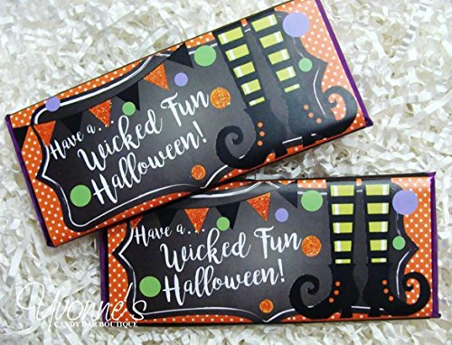 Halloween Candy Bar Wrappers - Personalized Wrappers for Chocolate Bars - Halloween Witch Legs Design - For Halloween Party, Office, School, Teacher Gift, Stocking Stuffer (SET of (Halloween Candy Bar Wrappers)