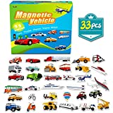 SpriteGru 33 PCS Vehicle Foam Magnets For Toddlers Kids , Perfect Preschool Learning (Land Air Ocean All Included)