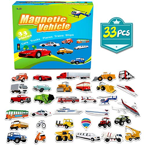 SpriteGru 33 PCS Vehicle Foam Magnets For Toddlers