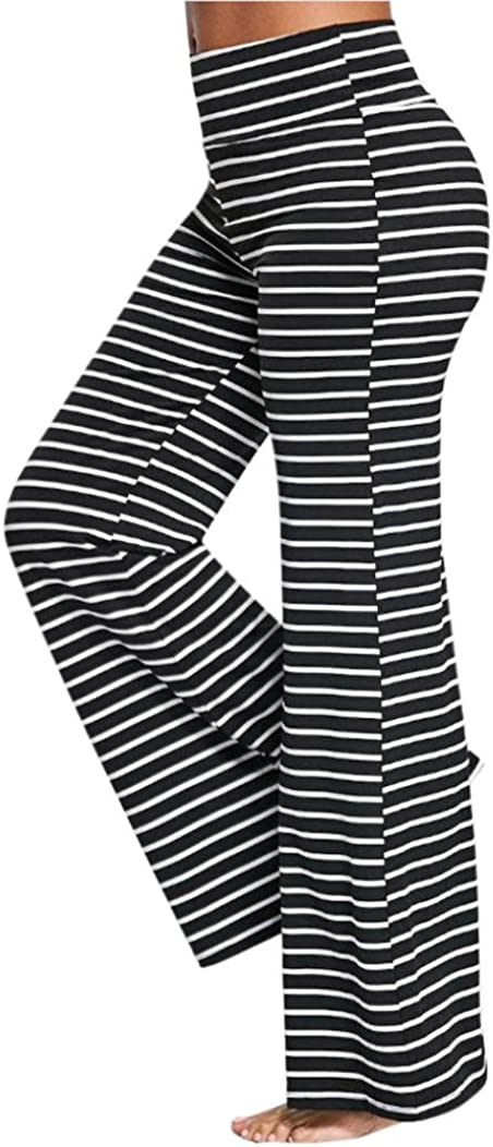 Challyhope Womens Summer Comfy Pajamas Pant Striped High Waist Wide Legs Casual Palazzo Trouser