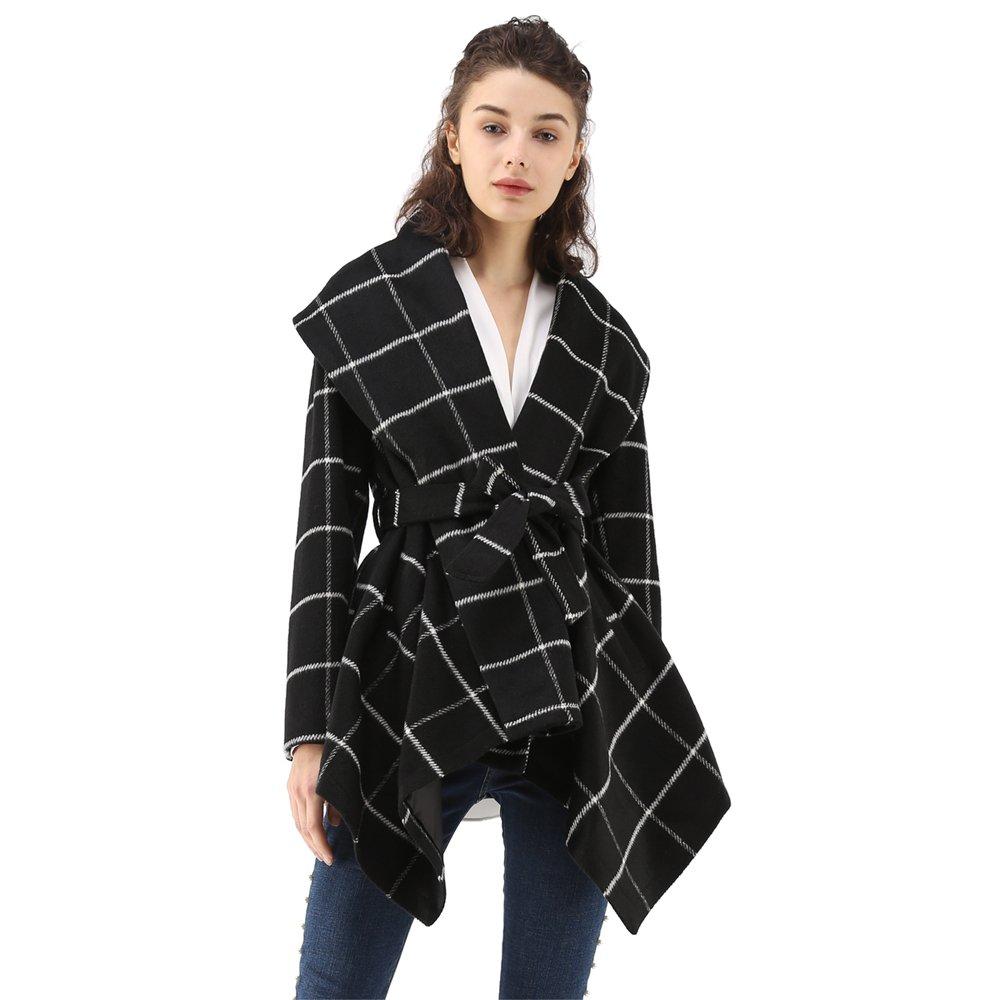 Chicwish Women's Turn Down Shawl Collar Open Front Long Sleeve Grid Black Asymmetric Hemline Wool Blend Coat