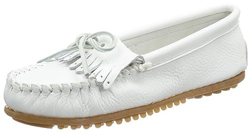 Minnetonka - Mocasines de Cuero para Mujer, Color Blanco, Talla 37 ...