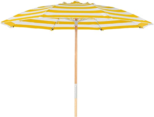 7.5 ft. Fiberglass Rib Commercial Grade Beach Umbrella with Ash Wood Pole Yellow White Stripe, Add Vent No Valance No Bag No Hook
