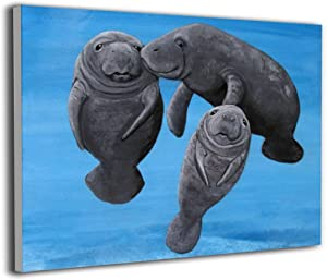 LP ART Canvas Print Wall Art 3 Manatees in The Ocean Picture Painting for Living Room Bedroom Modern Home Decor Ready to Hang Stretched and Framed Artwork 16''x20''