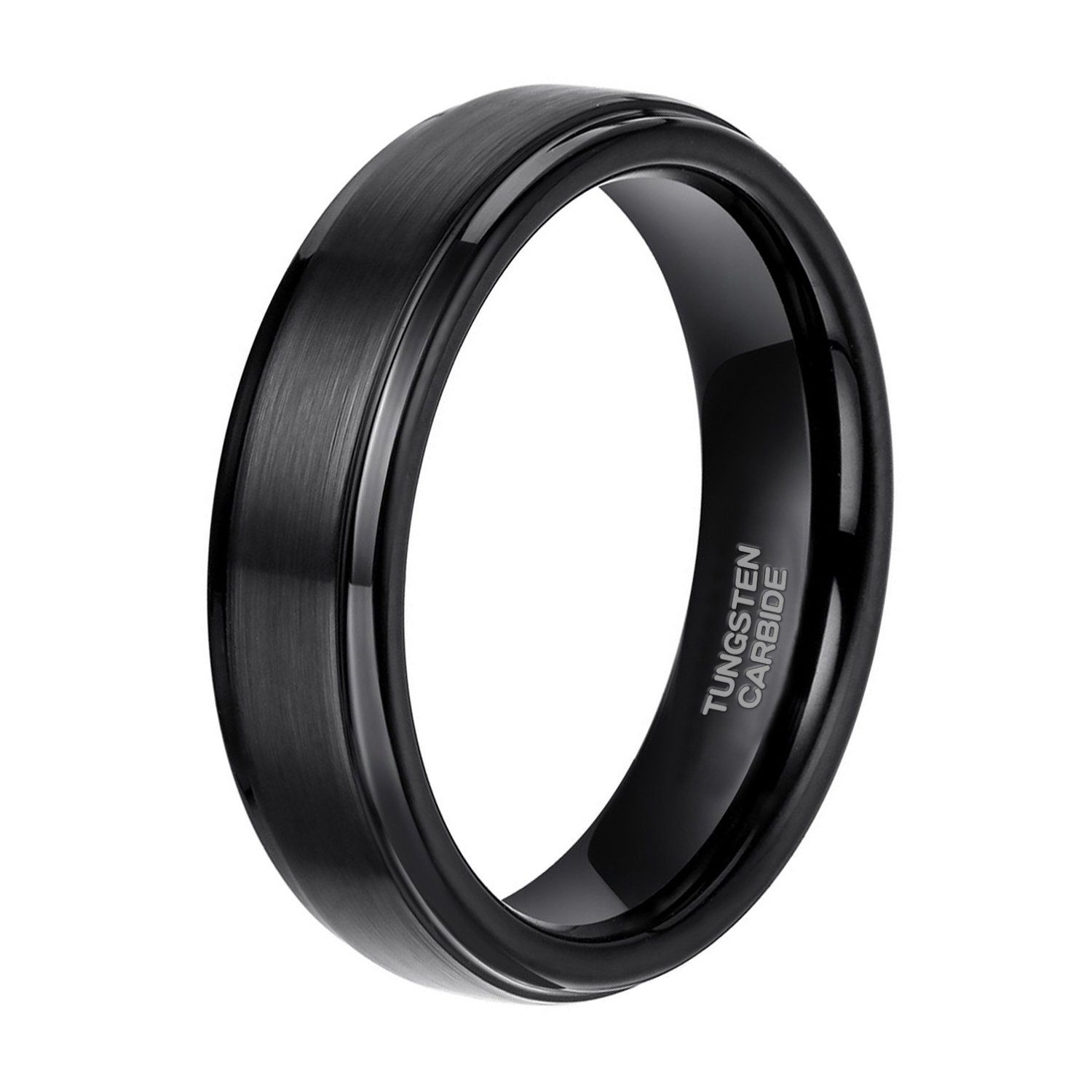 6mm Black Tungsten Carbide Wedding Ring Band for Men Brushed Style Comfort Fit Size 9