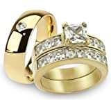 His & Her 14K G.P. Stainless Steel 3pc Wedding Engagement Ring & Mens ...