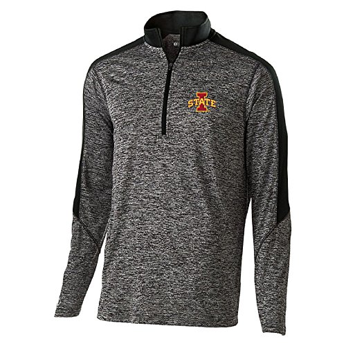 Ouray Sportswear NCAA Iowa State Cyclones Youth Electrify 1/2 Zip Sweat Shirt, X-Large, Black Heather/Black (Iowa State Sweatshirt Youth)