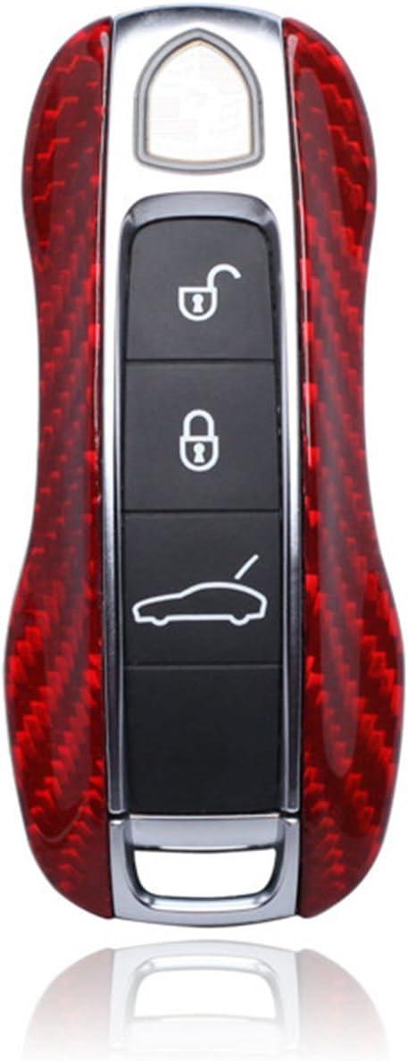 100% Carbon Fiber Case For Porsche Key Fob, Genuine Carbon Fiber Cover For Porsche 2017 2018 Panamera 2018 Cayenne Fob Remote Key, Men's Car Key Fob Protector Women's Replacement Protection Case - Red 61aff-XvZ2BL