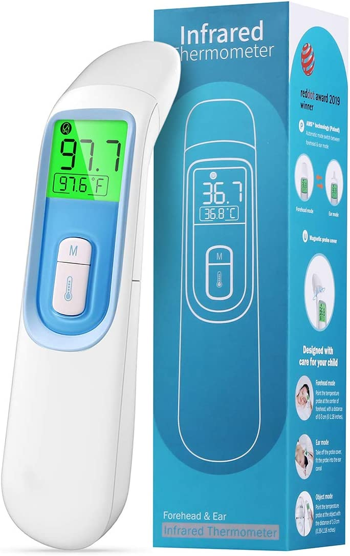 (2020 Upgraded) Thermometer for Adults, Forehead Thermometer for Fever Non Contact, Infrared Digital Ear Thermometer with Fever Alarm and Memory Function (Battery Not Included)