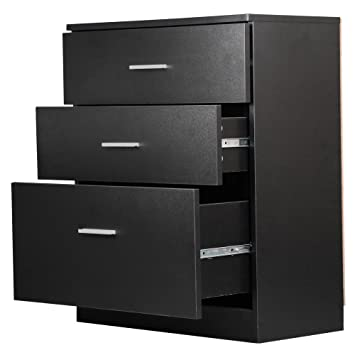 Amazon.com: Yaheetech Black Chest of Drawers Bedroom Dressers, 3 ...