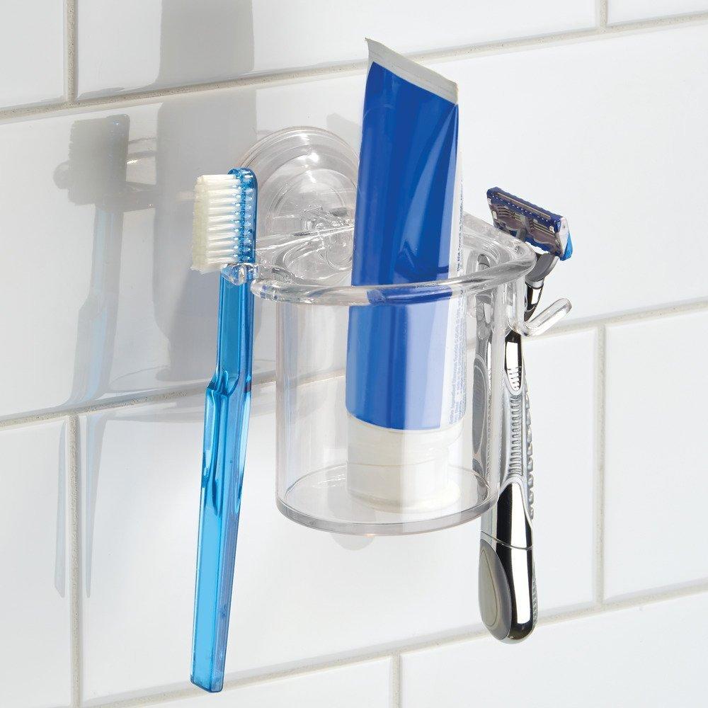 Organizador de cepillos de Dientes y maquinitas de Afeitar Claro Espejo InterDesign con Ventosa; para cub/ículo de Ducha Power Lock