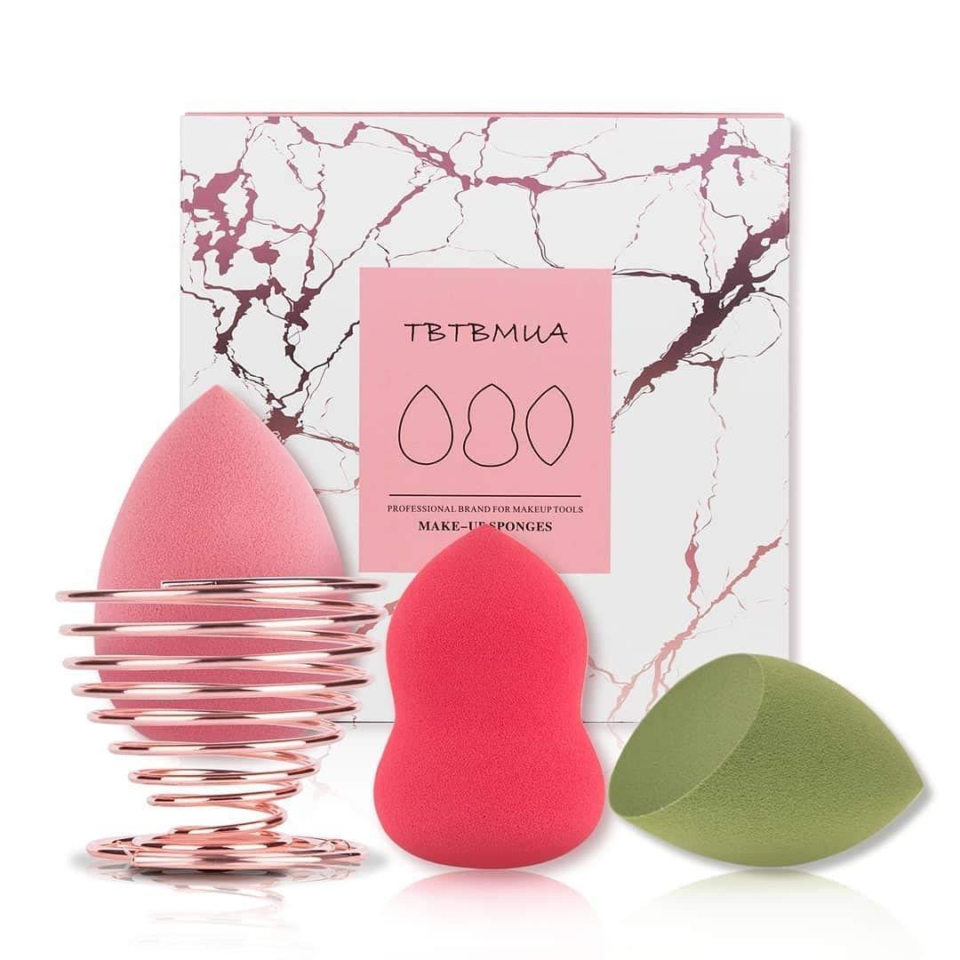 Makeup Sponge,Beauty Sponges 3pcs with Holder Beauty Blender for Powder, Cream or Liquid Application Dry & Wet Use by TBTBMUA