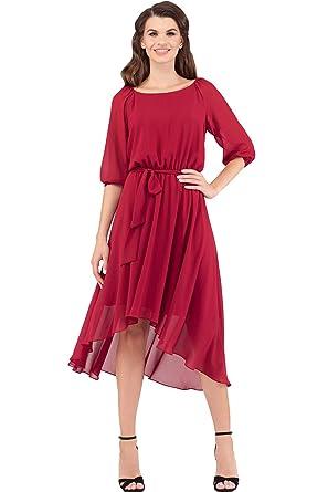 a936e2bb2f6 VILONNA Women s Modest A Line Shiffon 3 4 Sleeve Belted Knee Length Hi Low  Dress